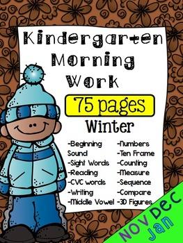 Kindergarten Winter Morning Work (75 pages)