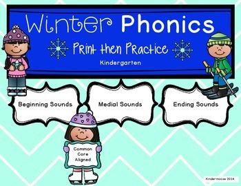 Kindergarten Winter Phonics Print then Practice