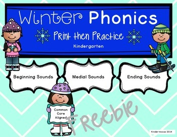 Kindergarten Winter Phonics Print then Practice Freebie