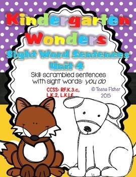 Kindergarten Wonders Reading Unit 4 Sight Word Scrambled S