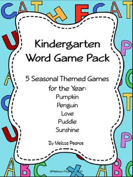 Kindergarten Word Game Pack- 5 Themed Common Core Aligned Games