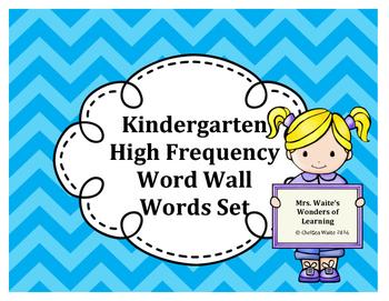 Kindergarten Word Wall Word Set Light Blue