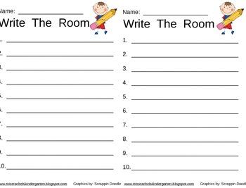 Kindergarten Write The Room Learning Center Activity