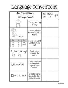 Kindergarten Writing Checklist – Language Conventions