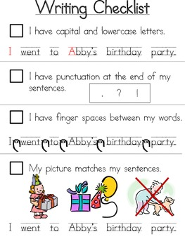 Kindergarten Writing Checklist by Katie Sharp | Teachers Pay Teachers