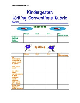 Kindergarten Writing Conventions Rubric- Standards Based A