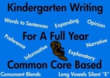 Kindergarten Writing For A Full Year Common Core Based printable