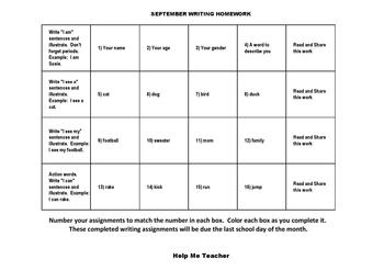 Kindergarten Writing Homework Calendar - November - Help M