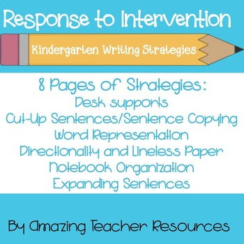 Kindergarten Writing - Response to Intervention RTI Strate