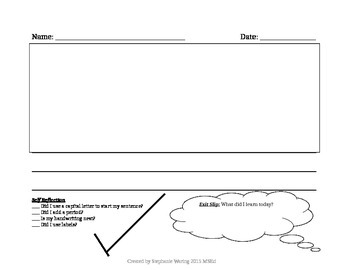 Kindergarten Writing Paper with student self-checklist & e