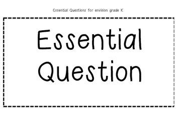 Kindergarten enVision essential question cards