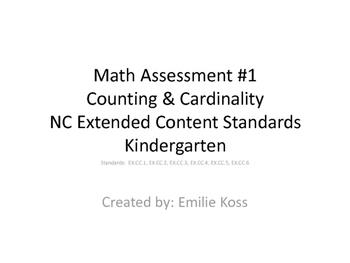 Kindergarten math assessment- Counting & Cardinality NC Ex