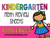 Kindergarten or Beginning First Grade Review Math Sheets