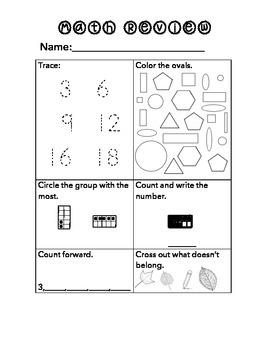 Kindergaten Math Standards Review