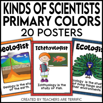 Kinds of Science and Scientists Posters in Primary Colors