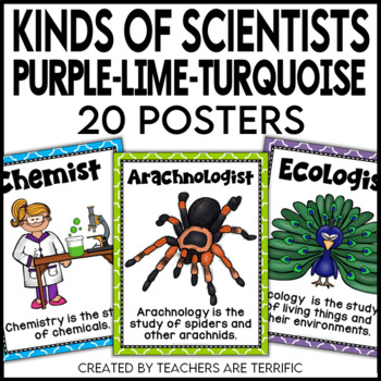 Kinds of Science and Scientists Posters in Purple, Lime, a