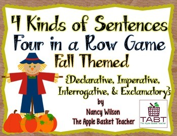 Kinds of Sentences ~ Four in a Row Game ~ Fall Themed