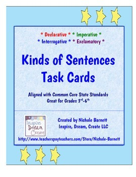 Kinds of Sentences Task Cards (Common Core Aligned)