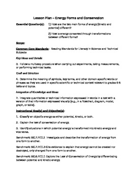 Kinetic and Potential Energy Lesson Plan (Marzano Evaluation)