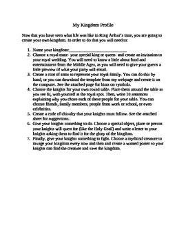 King Arthur Medieval Times My Kingdom Project and Rubric