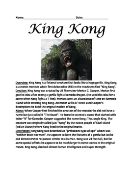 King Kong - Lesson article facts information questions wor