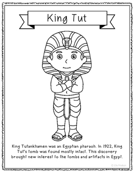 King Tut Coloring Page Activity or Poster with Mini Biogra