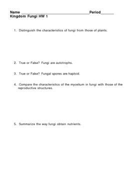 Kingdom Fungi - Fungus HW 1