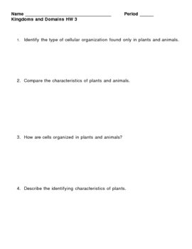 Kingdoms and Domains HomeWork Assignment 3