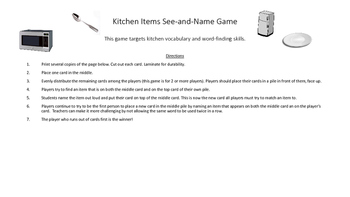 Kitchen Items See-and-Name Game