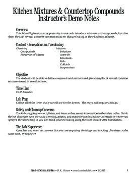 Kitchen Mixtures & Countertop Compounds (Chemistry)
