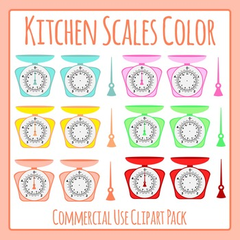 Kitchen Scales in Color Clip Art for Commercial Use (Weigh