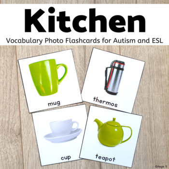 Kitchen Tools Vocabulary Photo Flashcards for Special Educ