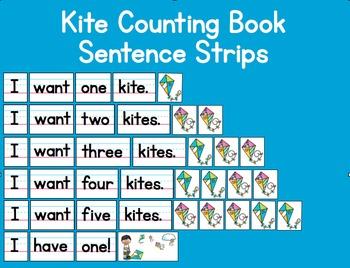 Kite Counting Book Emergent Reader Sentence Strip Pocket C