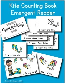 Kite Counting Book Emergent Reader and Sentence Strip Bundle