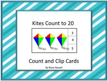 Count and Clip Task Cards Counting to 20 Kites Math Centers