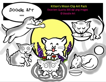 Kitten's Moon Clipart Pack