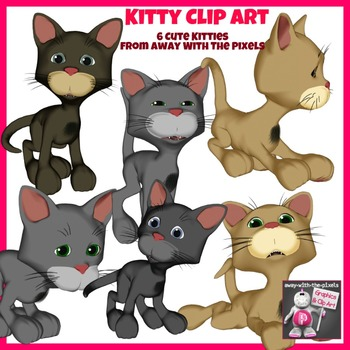 Kitty Cat Clip Art - 6 Color and 6  Black and White Clipar