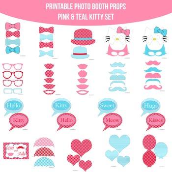 Kitty Pink Teal Printable Photo Booth Prop Set