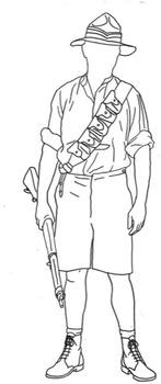 Kiwi ANZAC Soldier Line Drawing