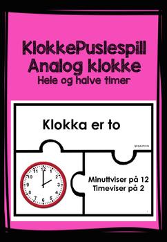 KlokkePuslespill Analog klokke hel og halv