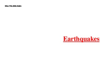 Kloze notes for earthquakes