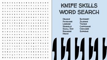 Knife Skills Word Search; FACS, Culinary Arts, Bellringer,
