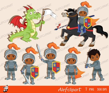Knight and Dragon. Clipart Set/ African American, Multicultural.