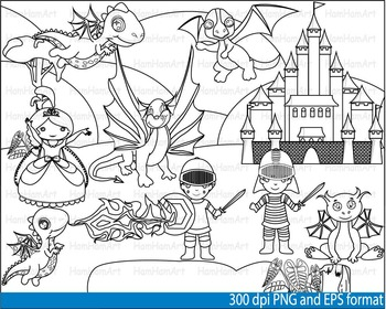 Knights Heroes Dragons Clip Art SCHOOL outline stamp color