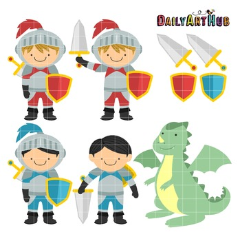 Knights and Dragon Clip Art - Great for Art Class Projects!