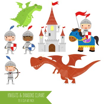 Knights and Dragons Clip Art