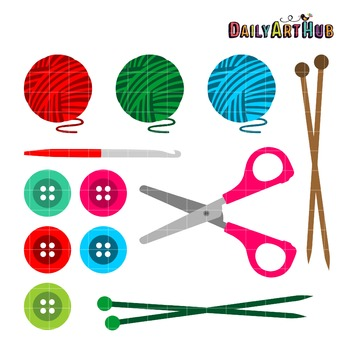 Knitting And Crochet Clip Art - Great for Art Class Projects!