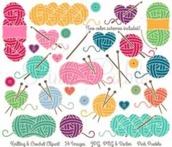 Knitting Clipart, Knitting Clip Art, Yarn Clipart, Yarn Clip Art