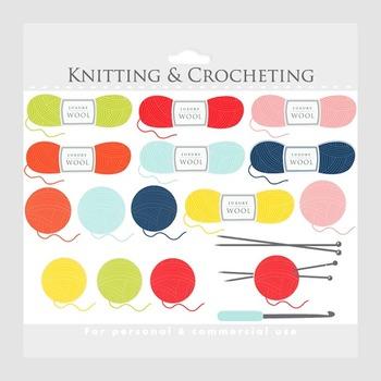Knitting clipart - crochet clip art, crocheting knit wool