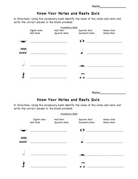 Know Your Notes and Rests Quiz Half Page
